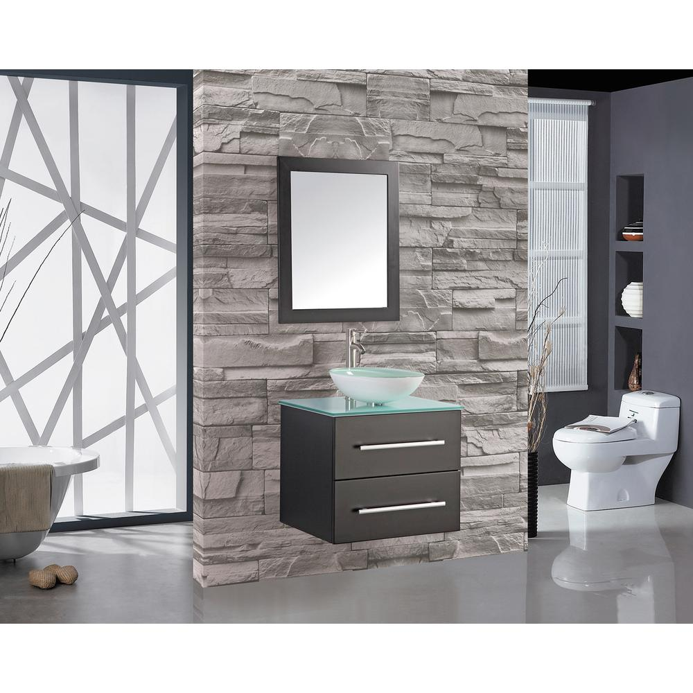 Cabinet D Architecte Caen mtd vanities caen 24 in. w x 20 in. d x 26 in. h floating vanity in  espresso with tempered glass vanity top with frosted glass basin