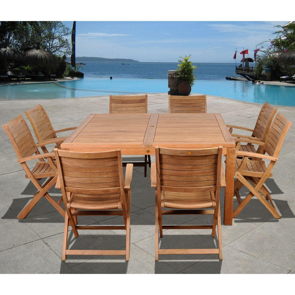 Amazonia Boynton Square Piece Teak Patio Dining Set - Solid teak outdoor table