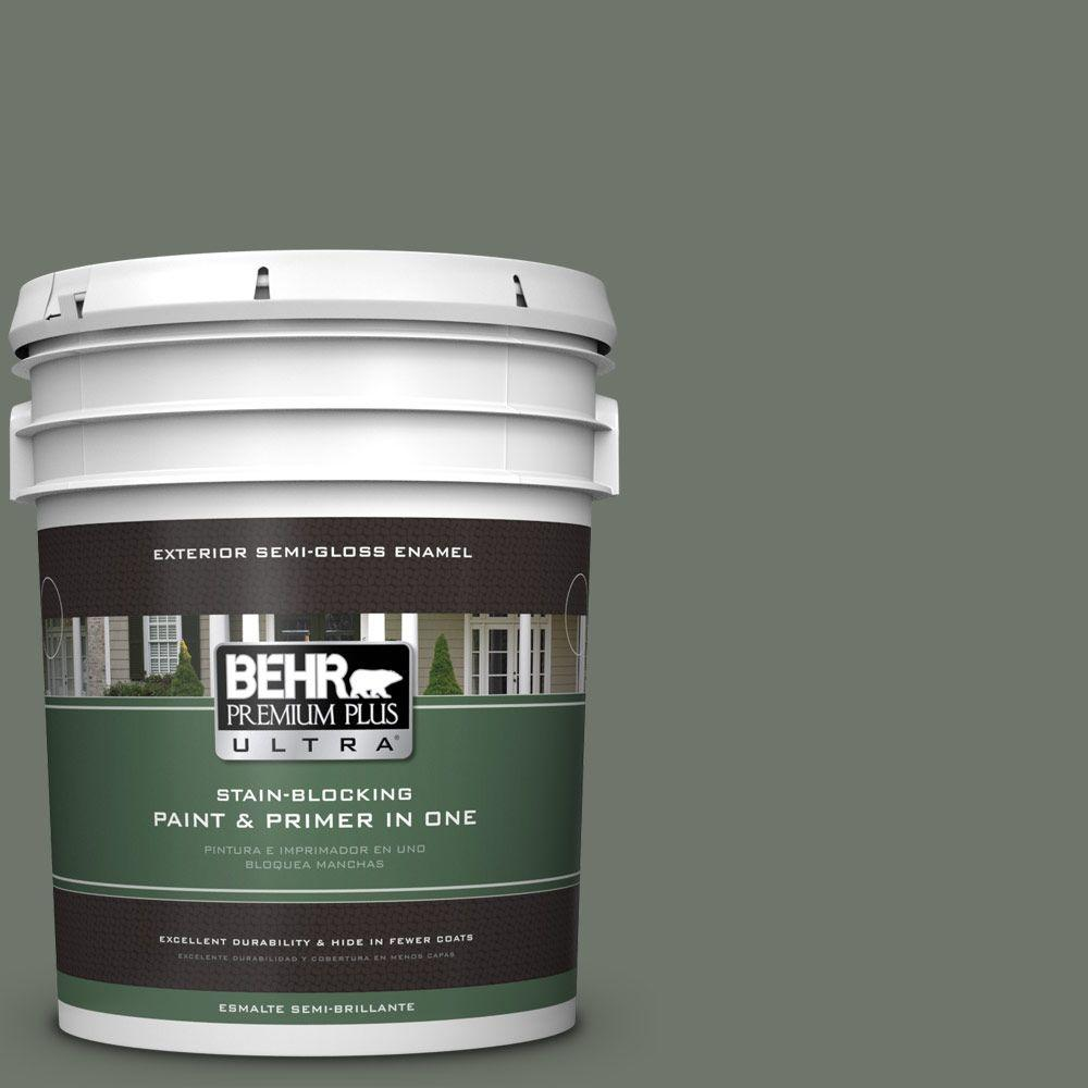 BEHR Premium Plus Ultra 5-gal. #BXC-72 Evergreen Trail Semi-Gloss Enamel Exterior Paint