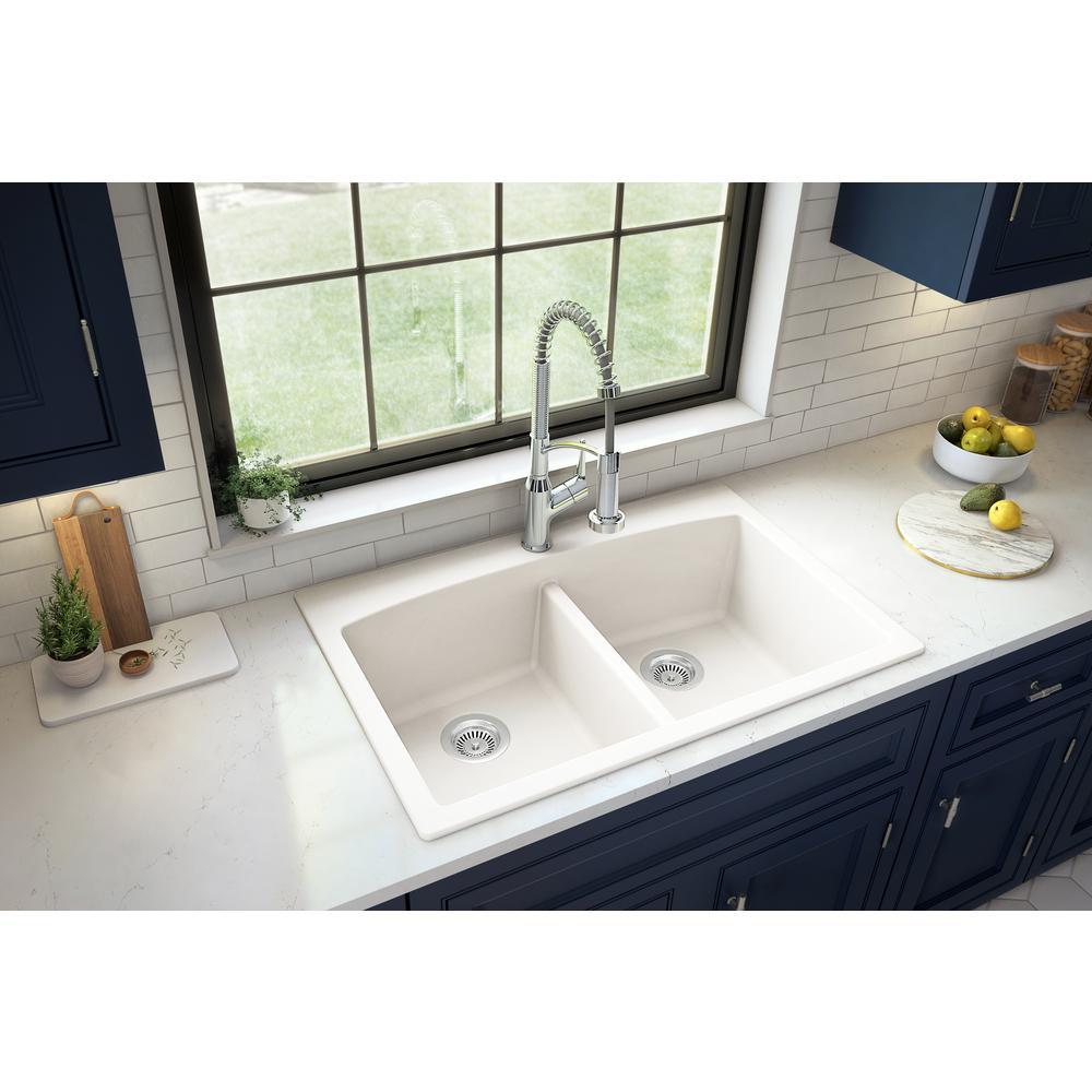 Drop-in Quartz Composite 33 in. Double Bowl Kitchen Sink in White