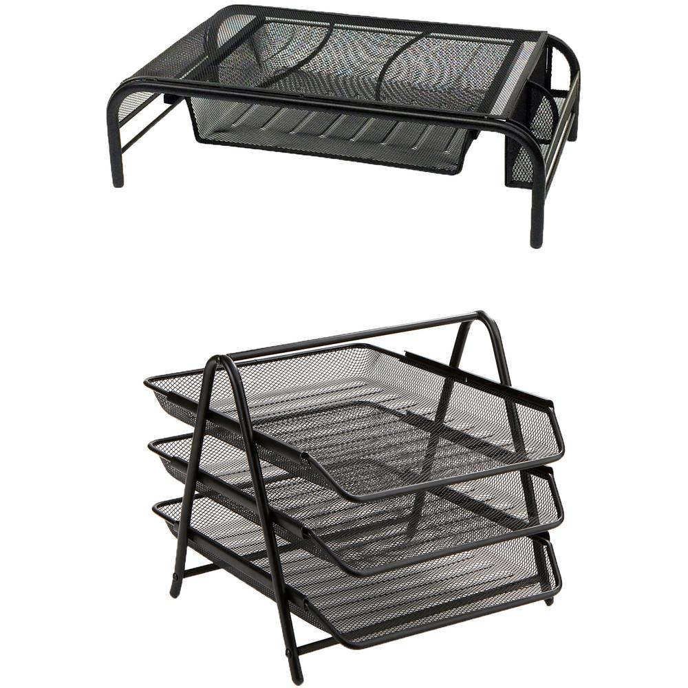 9c9e95883 Mind Reader Metal Mesh Monitor Stand with Drawers and 3-Tier Paper Tray  Organizer Set