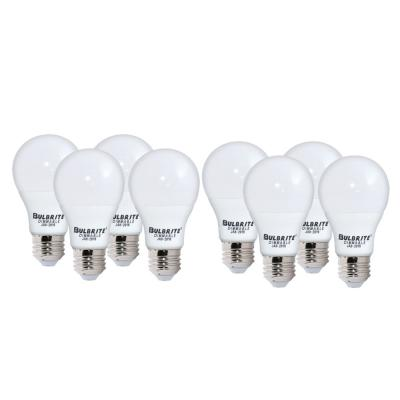 Bulbrite 60-Watt Equivalent Soft White Light Frost A19 Dimmable UL Enclosed JA8 LED Light Bulb (8-Pack)