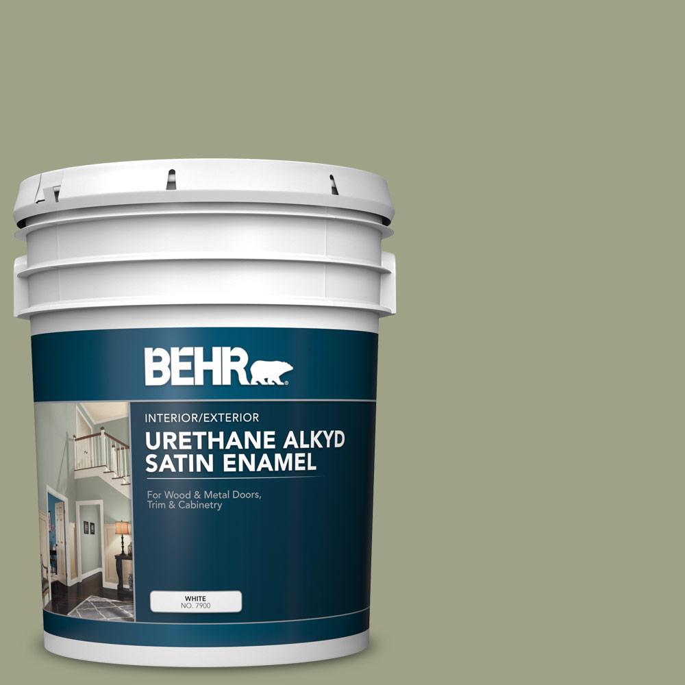 BEHR 5 gal  #AE-35 Shaded Moss Urethane Alkyd Satin Enamel  Interior/Exterior Paint