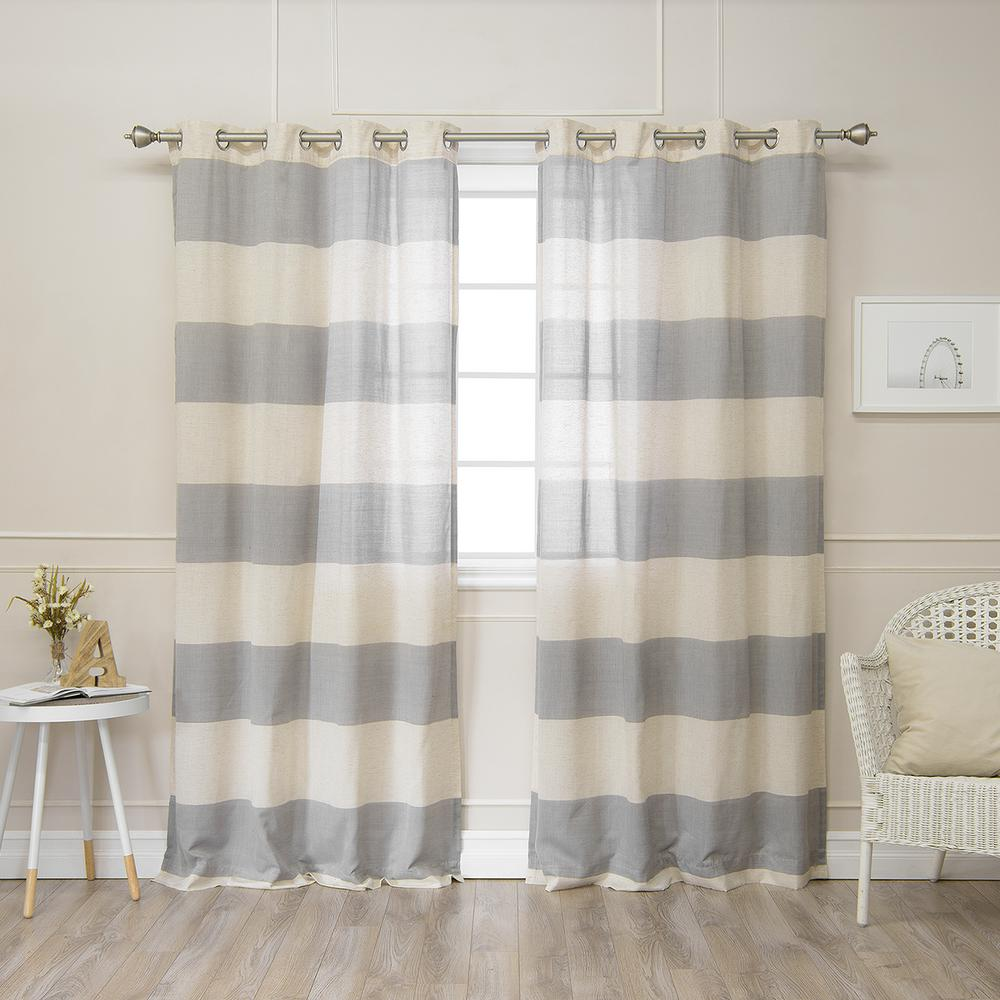 Linen Stripe Kitchen Curtains: Best Home Fashion 84 In. L Linen Blend Rugby Stripe