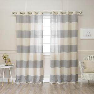 Best Home Fashion 84 In L Linen Blend Rugby Stripe Curtains 2 Pack Bg 75 Blue The Depot