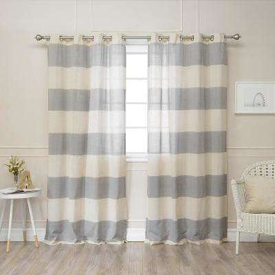 84 in. L Linen Blend Rugby Stripe Curtains (2-Pack)