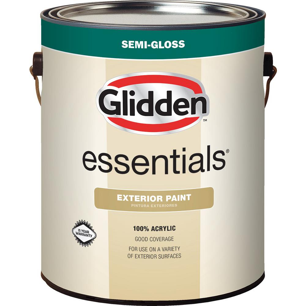 Glidden Essentials 1 Gal White Base 1 Semi Gloss Exterior
