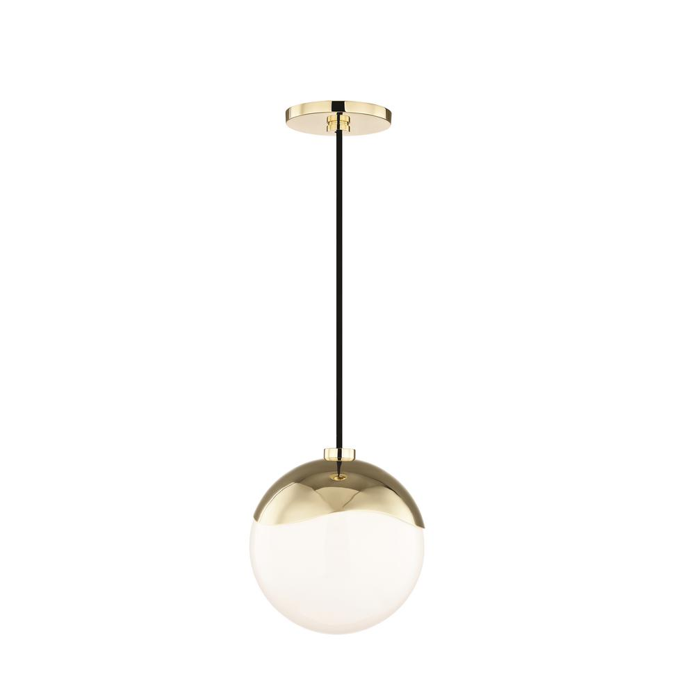 Ella 1 Light Polished Br Small Pendant With Opal Glossy Gl