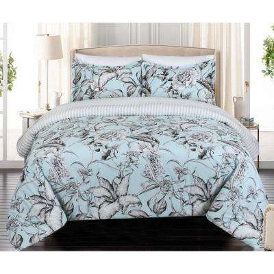Sketch Floral Full and Queen Comforter Set