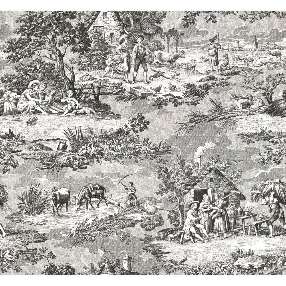 The Wallpaper Company 8 in. x 10 in. Black and White Farm Toile Wallpaper Sample