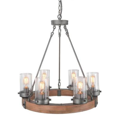 6-Light Aged Silver Circular Wood Chandelier with Glass Shade