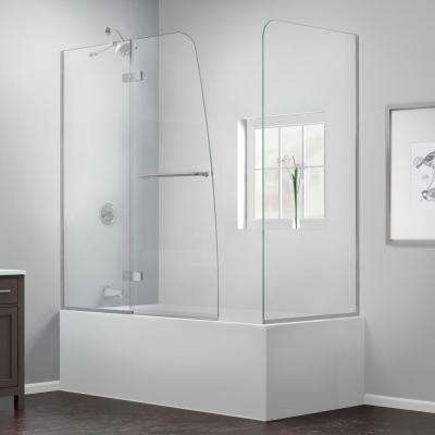 Aqua Ultra 57 to 60 in. x 58 in. Semi-Framed Hinged Tub Door with Return Panel in Chrome