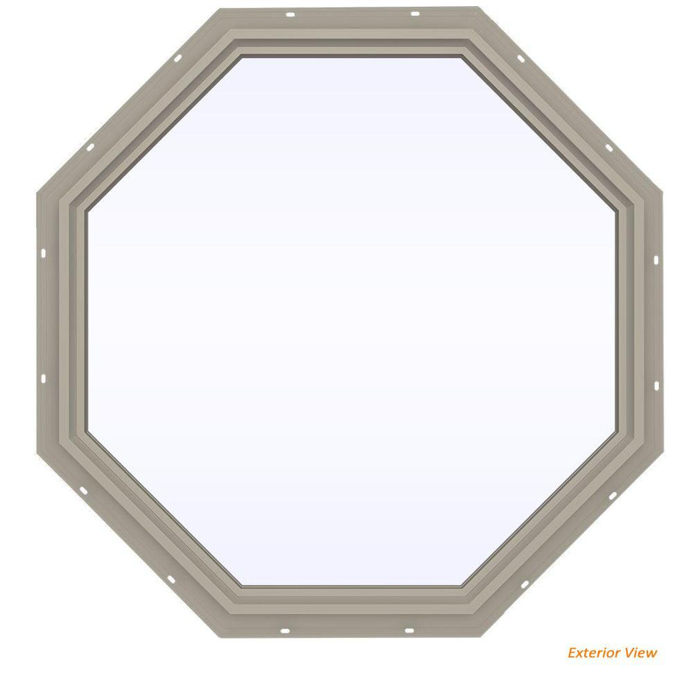 47.5 in. x 47.5 in. V-4500 Series Desert Sand Vinyl Fixed Octagon Geometric Window w/ Low-E 366 Glass