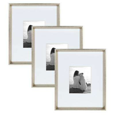 Calter 16 in. x 20 in. Matted to 8 in. x 10 in. Silver Picture Frame (Set  of 3)