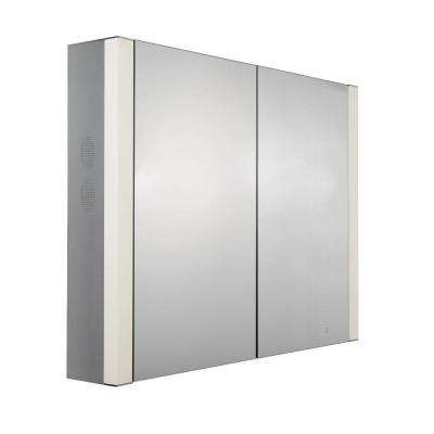 Musichaus 35 in. W x 27-1/2 in. H x 6 in. D Surface-Mount Medicine Cabinet in Anodized Aluminum