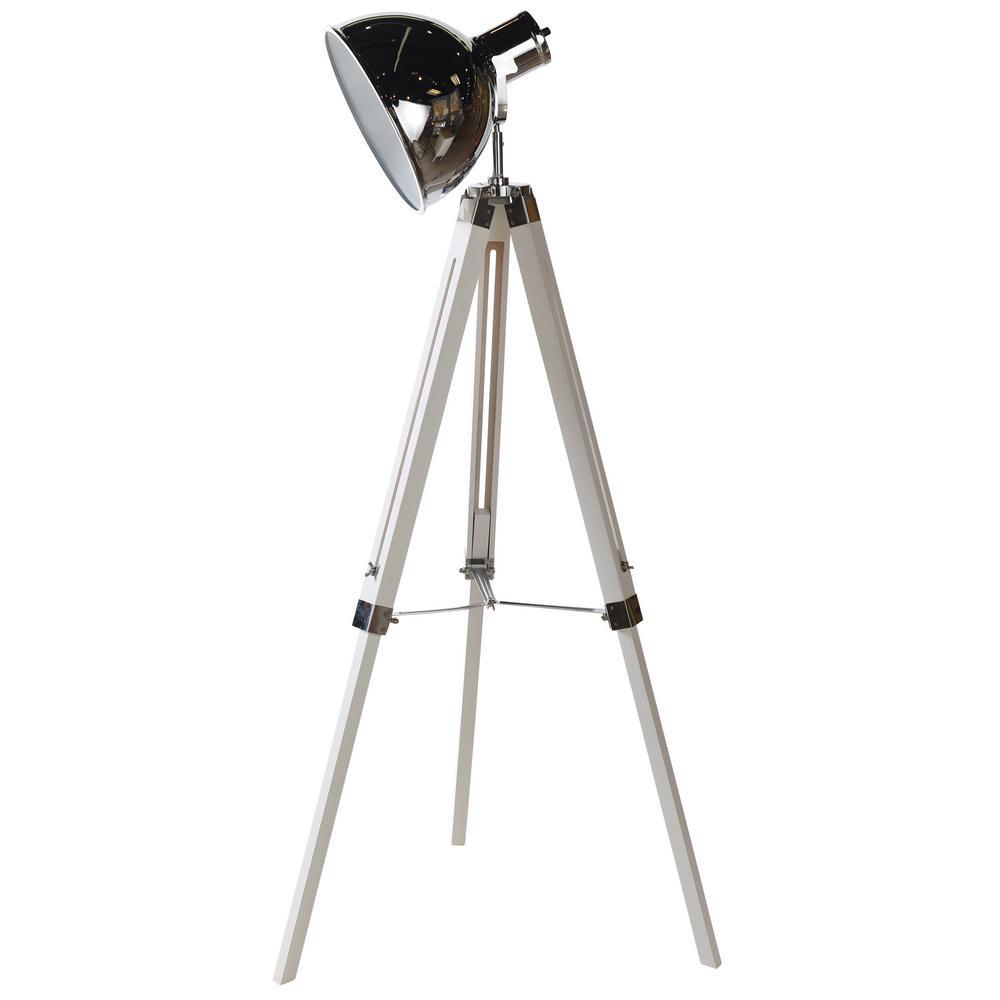 Craven 55 in. Black, Polished Steel Floor Lamp