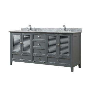 Shutter 72 in. W Bath Vanity in Gray with Carrara White Marble Vanity Top with White Basins