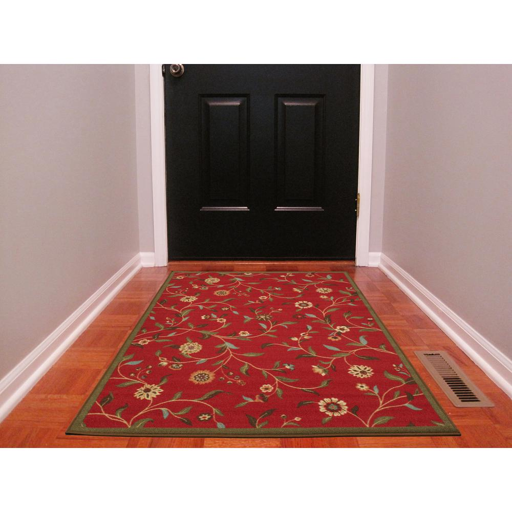 Ottomanson Ottohome Collection Fl Garden Design Dark Red 3 Ft X 5 Non