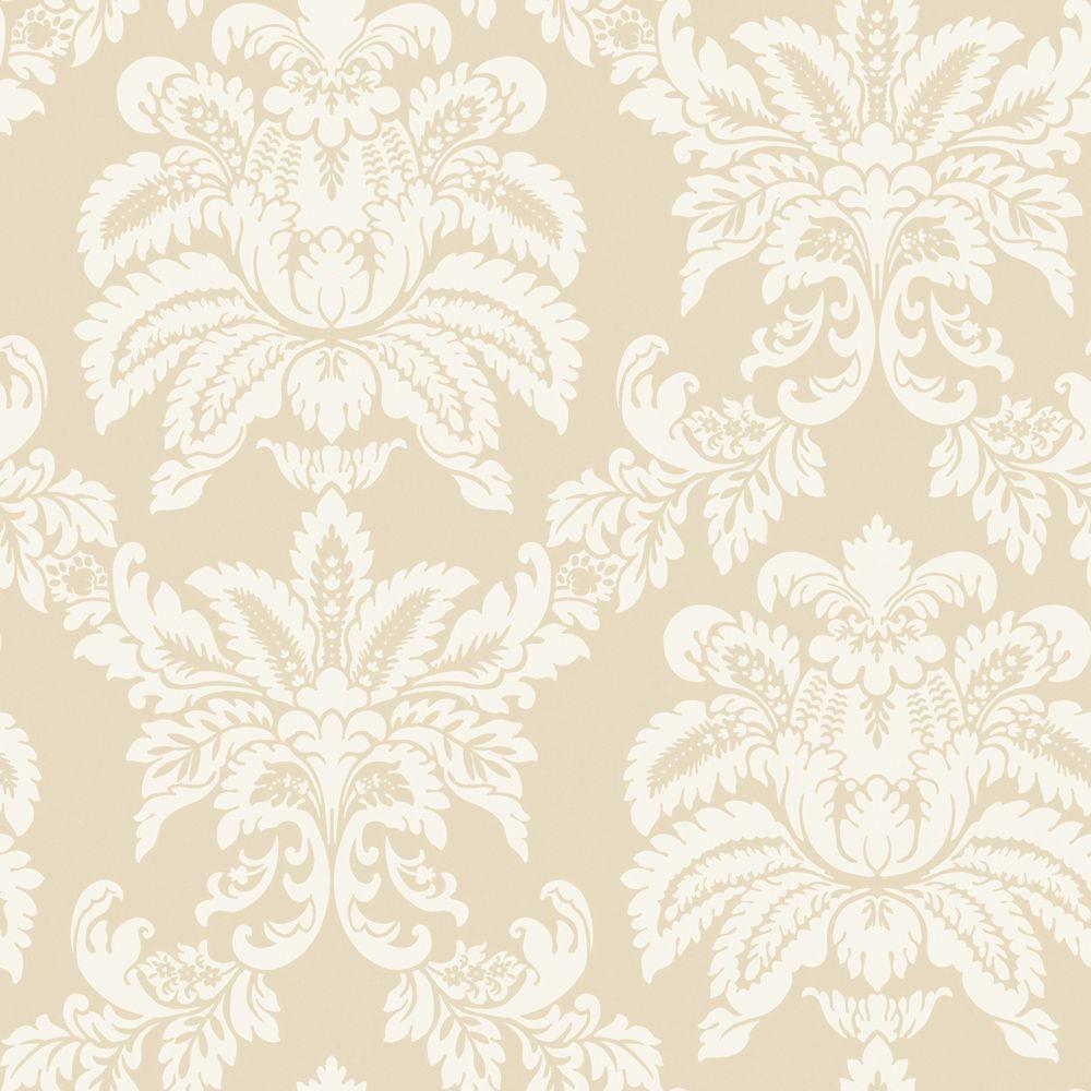 The Wallpaper Company 8 in. x 10 in. Beige Majestic Damask Wallpaper Sample