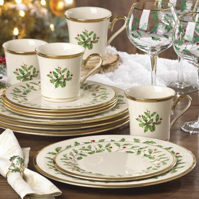 Holiday 12-Piece Traditional Ivory Bone China Dinnerware Set (Service for 4)