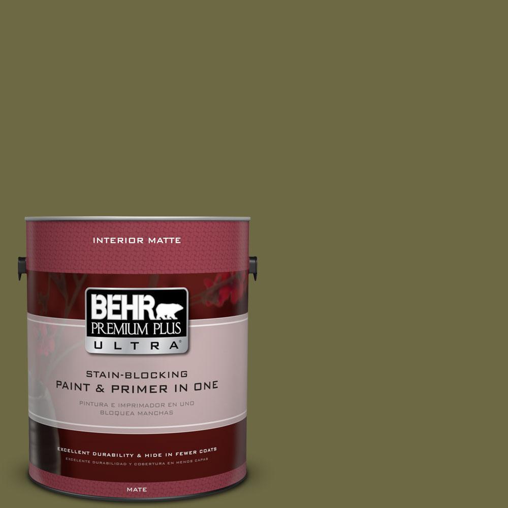 BEHR Premium Plus Ultra Home Decorators Collection 1 gal. #HDC-CL-20 Portsmouth Olive Flat/Matte Interior Paint