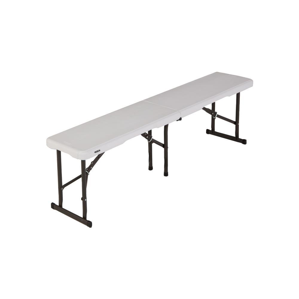 5 ft. Fold-In-Half Bench in Pearl White