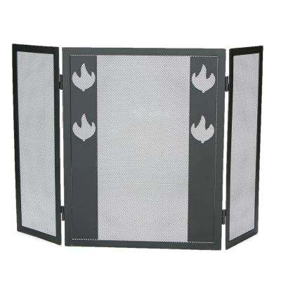 3-Panel Fire Place Screen Door Panel with Fire Symbol Double Bar, Black