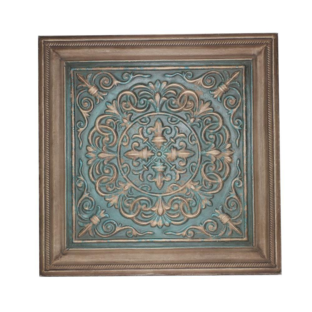 16.5 in. x 16.5 in. Blue Stamped Metal Wall Plaque