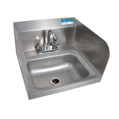 Wall Mount Hand Sink Bowl with Side Splashes Drain 4 in. OC Deck Mount Faucet in Stainless Steel