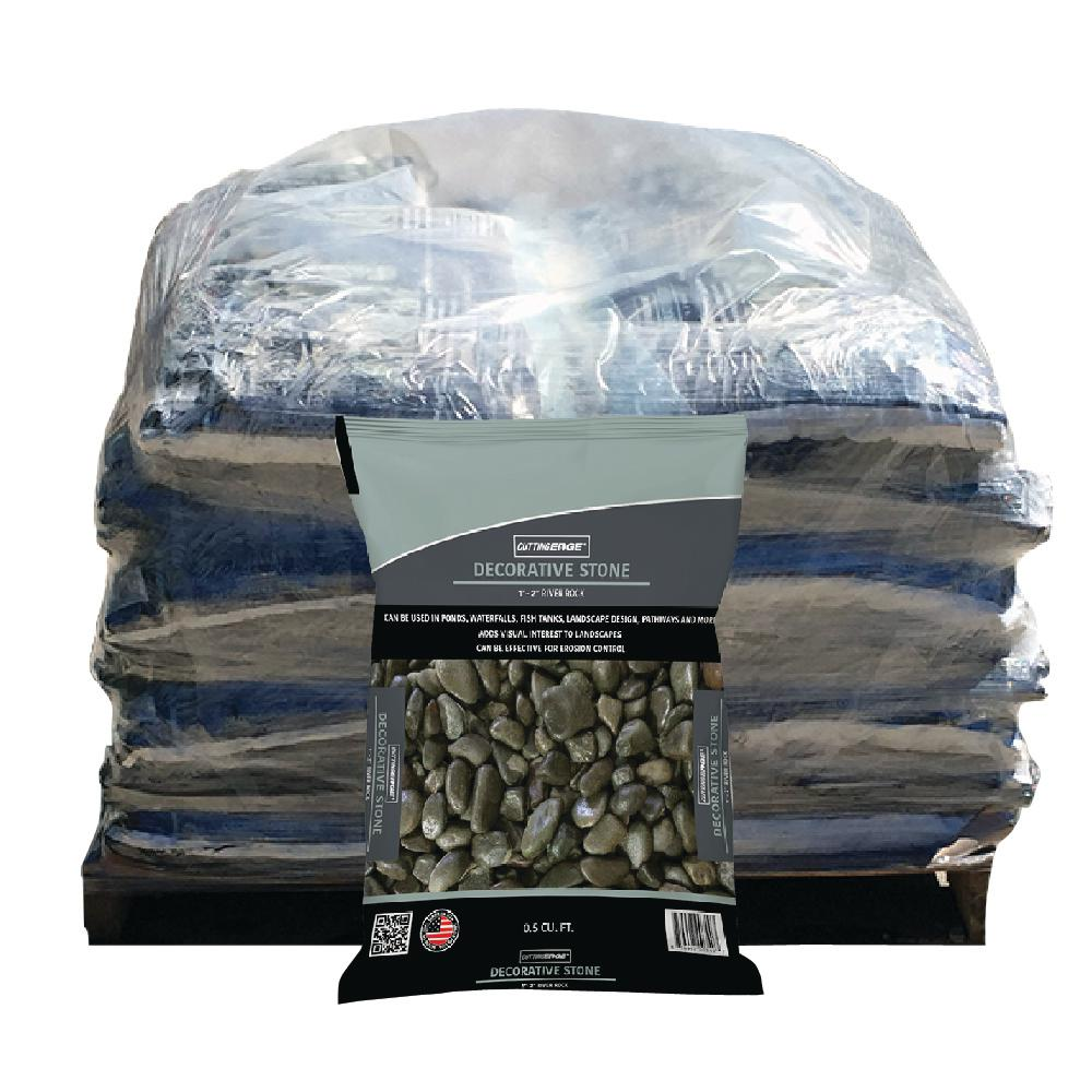 Cutting Edge 0.5 cu. ft. Screened at 1 in. - 2 in. Decorative Stone - River Rock Pallet (49 Bags)
