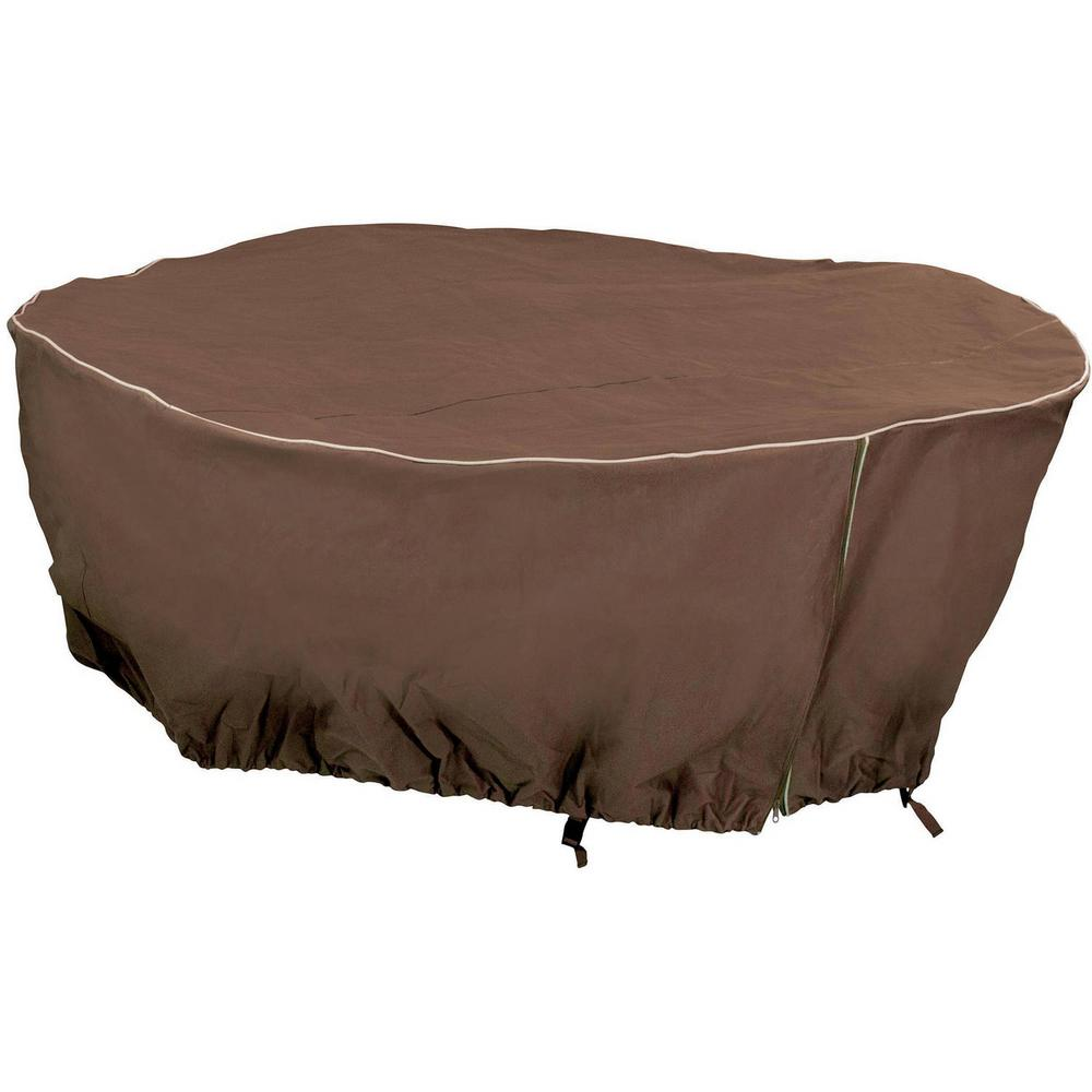 Mr Bar B Q 80 In. X 30 In. Brown Round Table Cover