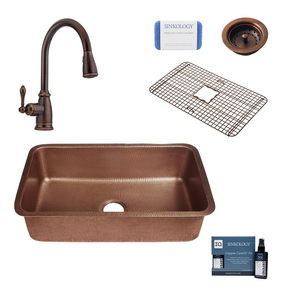 Sinkology Orwell All In One Undermount Copper 30 In Single Bowl Copper Kitchen Sink With Pfister Bronze Faucet And Strainer