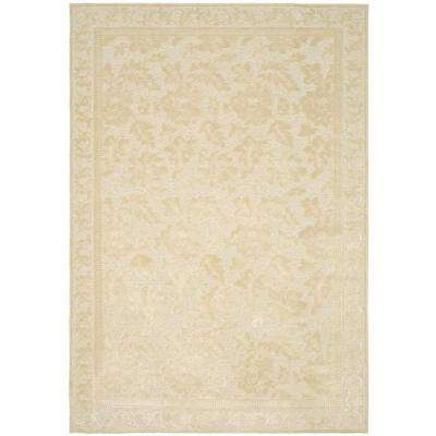 Peony Damask Cream 5 ft. 3 in. x 7 ft. 6 in. Area Rug