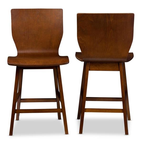 Baxton Studio Elsa Medium Brown Finished Wood 2-Piece Counter Stool Set