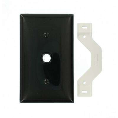 1-Gang Standard Size 0.406 in. Dia Phone/Cable Opening Nylon Strap Mount Wall Plate in Black