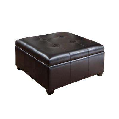 High Quality Carlsbad Espresso Brown Bonded Leather Storage Ottoman