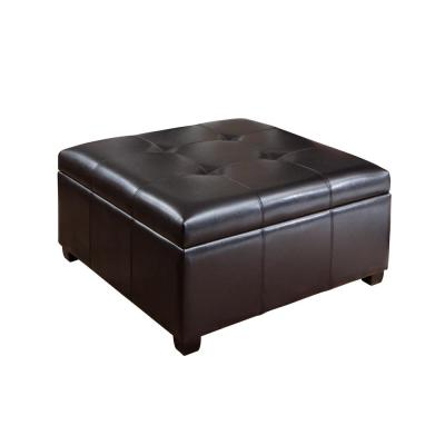 Carlsbad Espresso Brown Bonded Leather Storage Ottoman