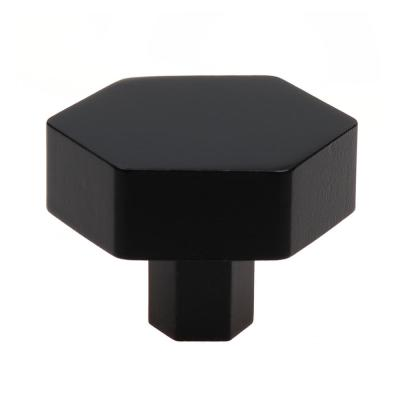 1-1/2 in. Matte Black Solid Hexagon Cabinet Drawer Knobs (10-Pack)