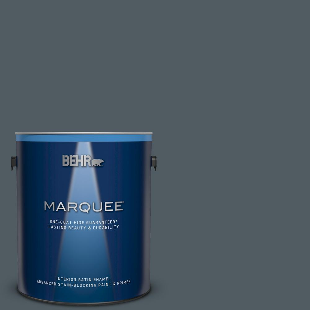 Behr Marquee 1 Gal Ppu25 21 City Rain Satin Enamel Interior Paint And Primer In One 745301 The Home Depot