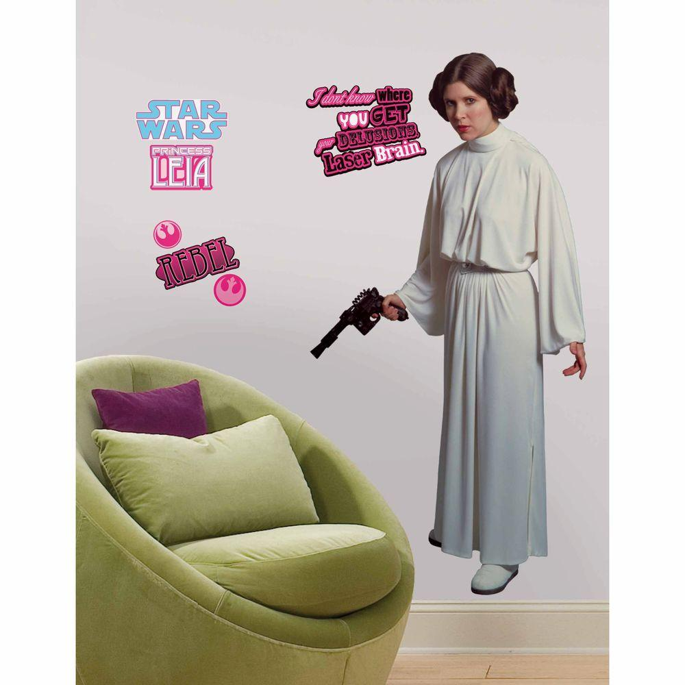 RoomMates 5 in. x 19 in. Star Wars Classic Leia Peel and Stick Giant Wall Decal (12-Piece)
