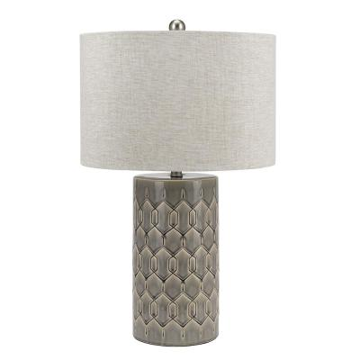 Cresswell 28 in. Frosted Gray Glaze Ceramic Column Table Lamp and LED Bulb