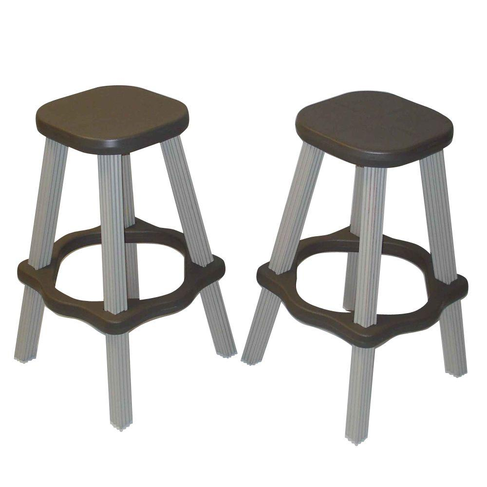 Leisure Accents 26 In Portabello Resin Patio High Bar Stools Set Of 2