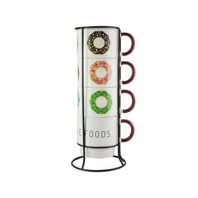 14 oz. Multi-Colored Ceramic Donuts Coffee Mugs with Metal Rack (Set of 4)