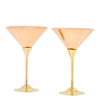 Solid Copper Martini Glasses with Brass Stem (2-Piece Set)