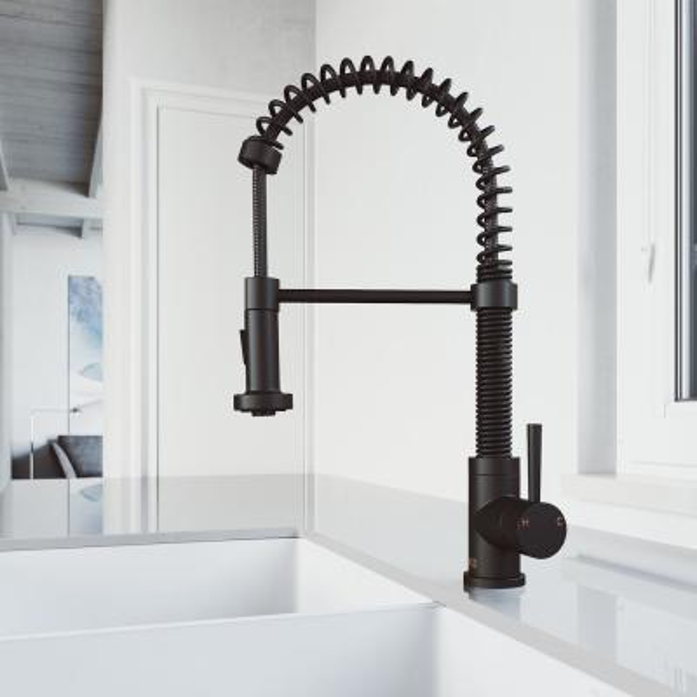 Edison Single-Handle Pull-Down Sprayer Kitchen Faucet in Matte Black