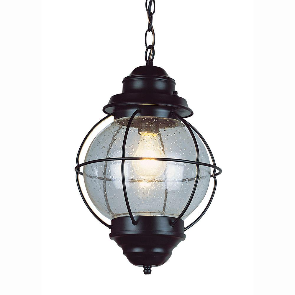 Bel air lighting lighthouse 1 light outdoor hanging black lantern with seeded glass