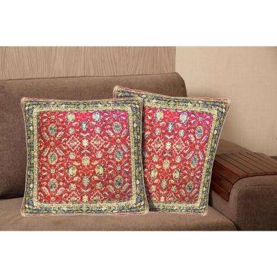 printed cotton 20 in red decorative pillow