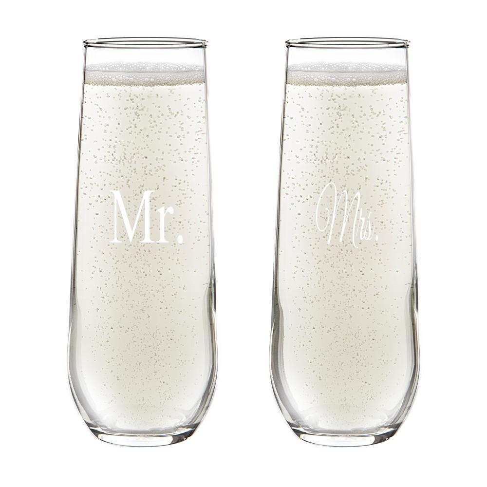 Mr. & Mrs. 8.5 oz. Stemless Champagne Flutes (4-Pack)