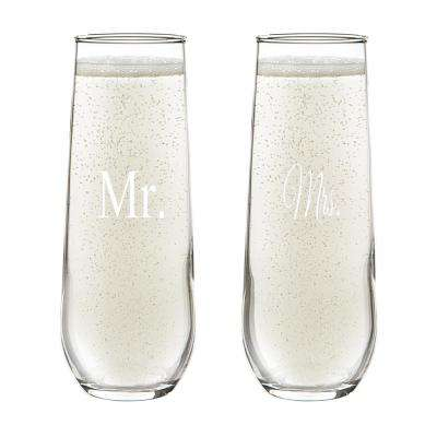 Mr. & Mrs. 8.5 oz. Stemless Champagne Flutes (4-Pack)