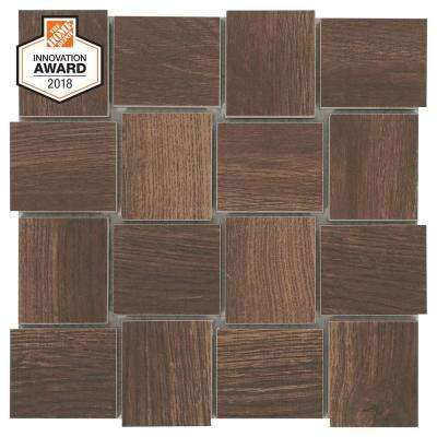 Autumn Wood Modern Weave 12 in. x 12 in. x 8mm Glazed Porcelain Mosaic Tile